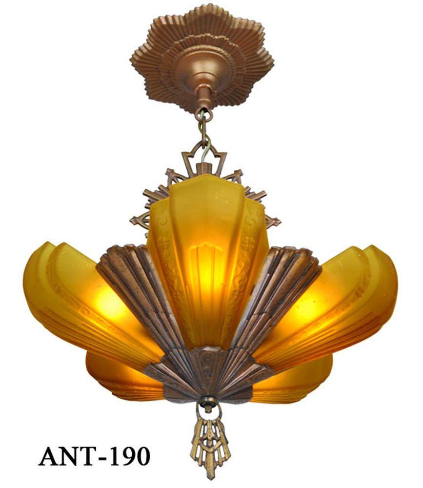 Vintage hardware lighting antique art deco virden slip shade vintage hardware lighting antique art deco virden slip shade chandelier ant 190 arubaitofo Gallery