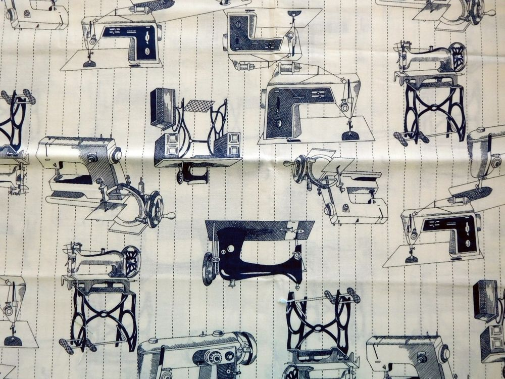 Fabric 1.5 Yds Vintage Sewing Machines Navy On Ivory Print Just Listed on Ebay