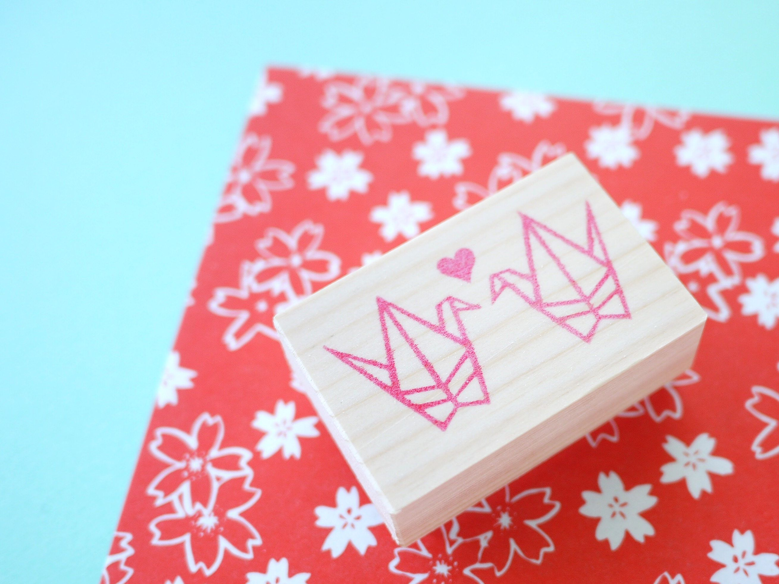 Origami crane, Crane stamp, Japanese stationery, Wedding invitations ...