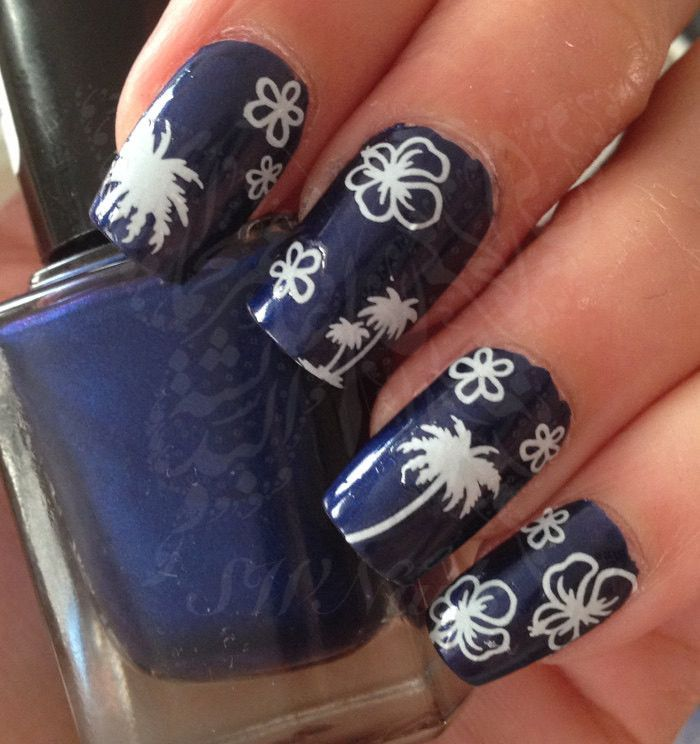 Summer Nail Art Palm Tree Flowers Nail Water Decals Transfers Wraps ...