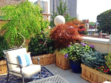Brooklyn, NYC Terrace: Roof Garden, Deck, Patio, Planter Boxes, Seating, Rug traditional-deck