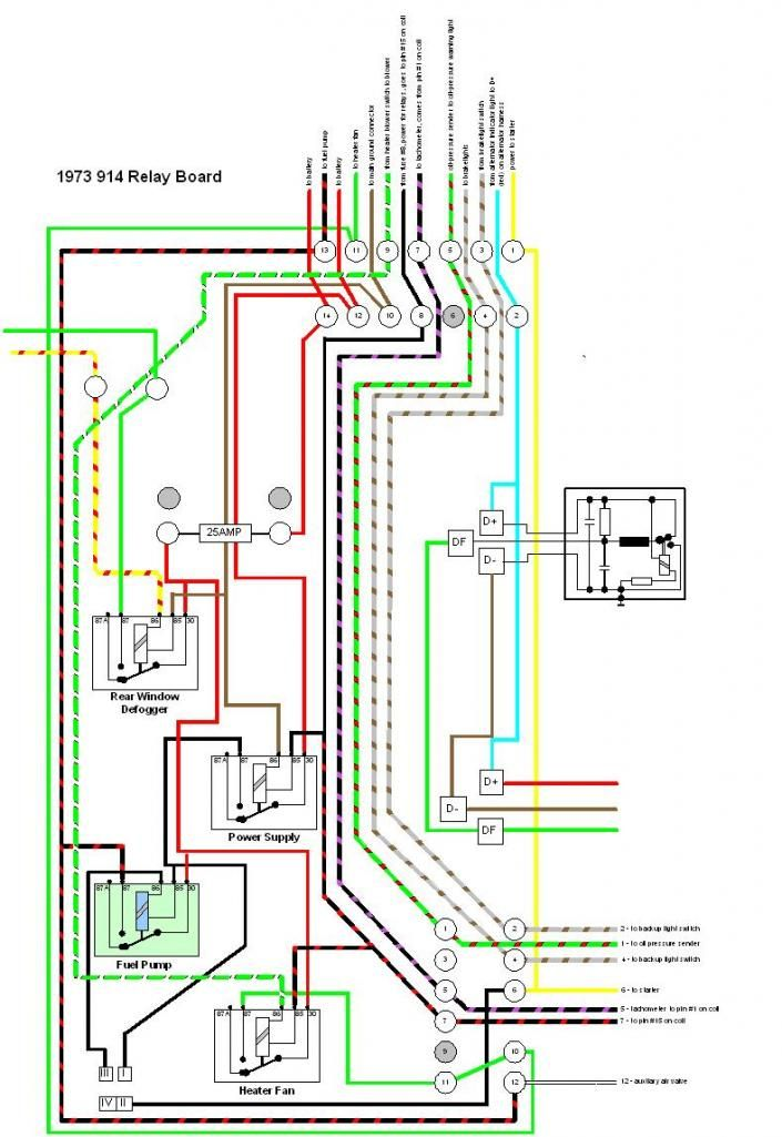 Annotated Relay Board Diagram For 73 Porsche 914  For