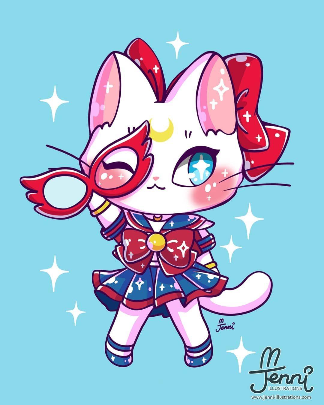 Sailor V Artemis Fusion Sailormoon Magicalgirl Artemis Sailorvenus Jennillustrations Sailor Moon Art Sailor Moon Wallpaper Cute Drawings