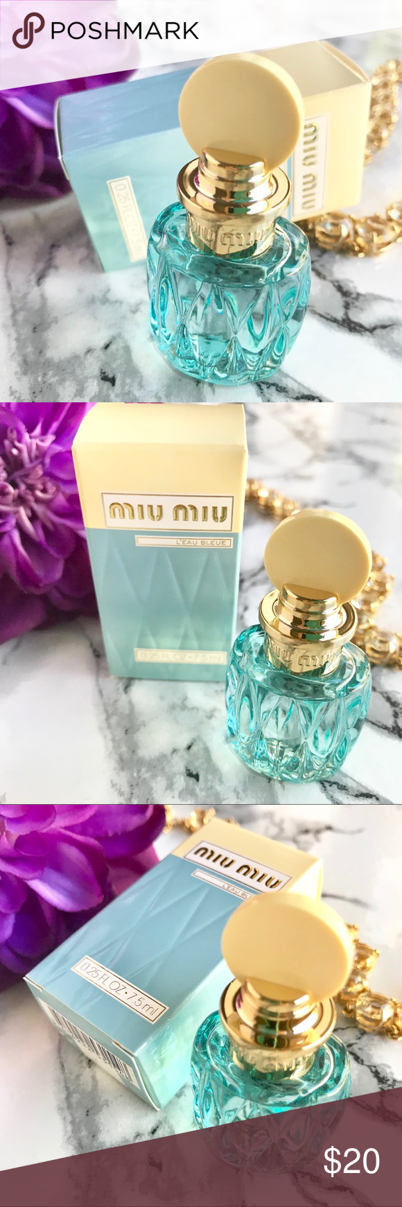 🆕NIB ✨ MIU MIU L'eau Blue Collector Bottle  🍃 🆕NIB ✨ MIU MIU L'eau Blue Collector Bottle  🍃  Travel Size .25oz 🍃 Brand New, Never Opened 🍃 Great to have a mini stylish bottle to carry around with you!  ✨NO TRADE💕Always NEW, Always AUTHENTIC✨ Come check out my NARS  * TOO Faced * Tarte * Urban Decay * Marc Jacobs * Bobbi Brown * BECCA * DIOR * Givenchy and More Cosmetics💕 Sephora Other