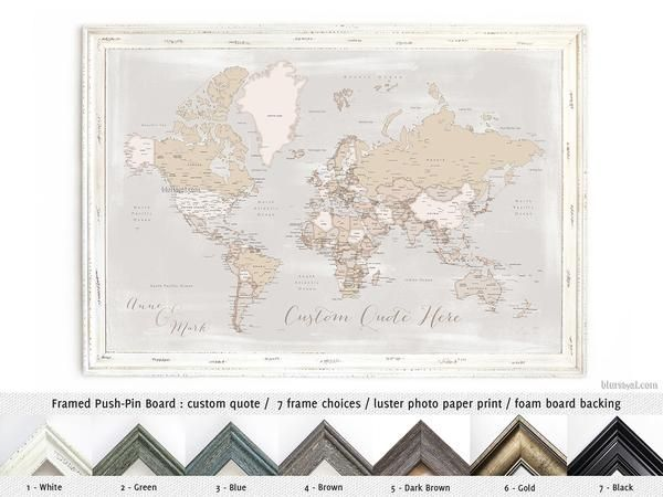 Framed world map push pin board in rustic style available for framed world map push pin board in rustic style available for purchase through artisan print gumiabroncs Choice Image