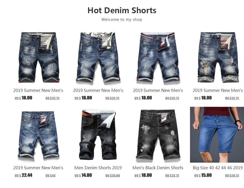 Men Denim Shorts Summer Thin Section Elastic Force Slim Fit Jeans Male Black Blue
