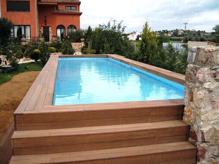 Image Result For Inground Fiberglass Pool In Wooden Deck Above Ground Pool Decks Above Ground Fiberglass Pools Backyard Pool Designs