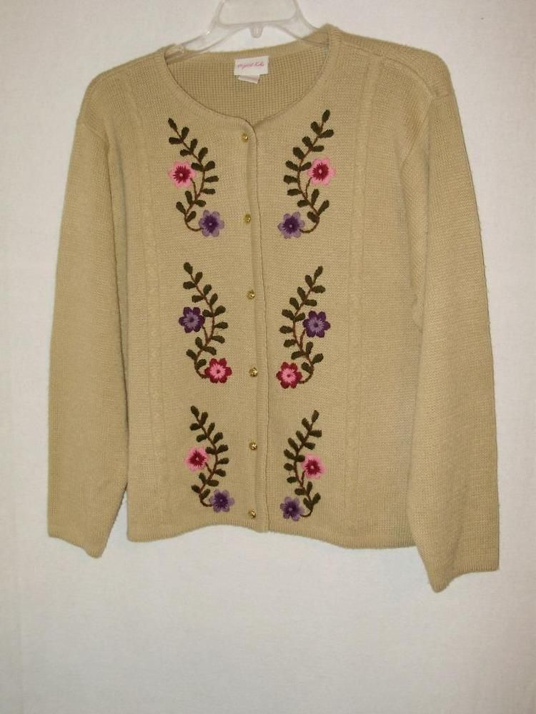 Womens cardigan sweater-Size Large-Crystal Kobe tan floral gold ...