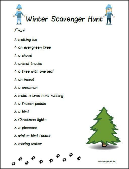 Free Winter Scavenger Hunt For Kids Scavenger Hunt For Kids Winter Outdoor Activities Winter Activities For Kids