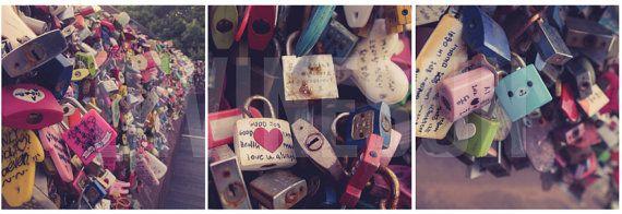 Korea Love Locks 3 Print Set - 8x8 on Etsy, $27.89