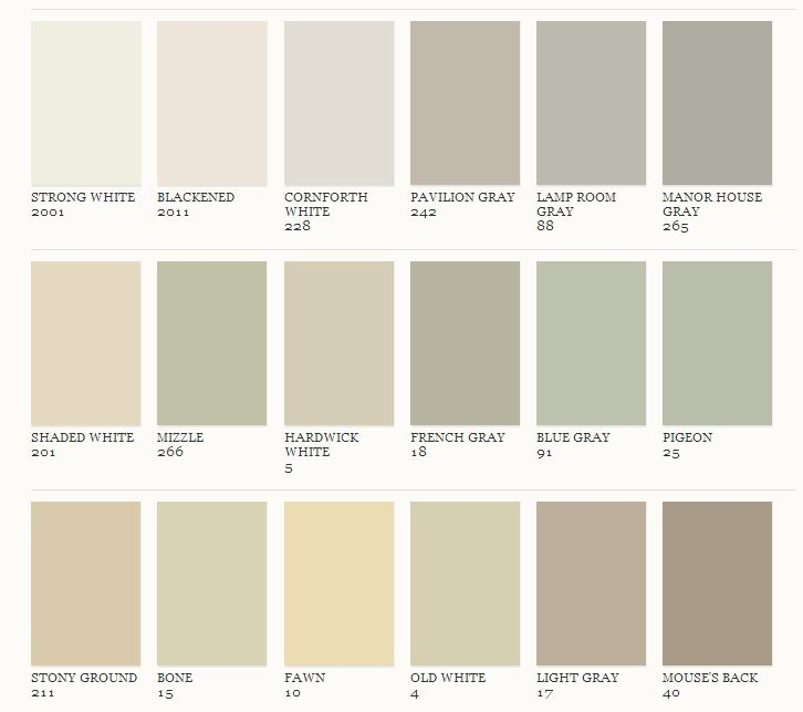 Farrow and Ball - Greys Fawn For the kitchen and other neutrals for the living, dining room