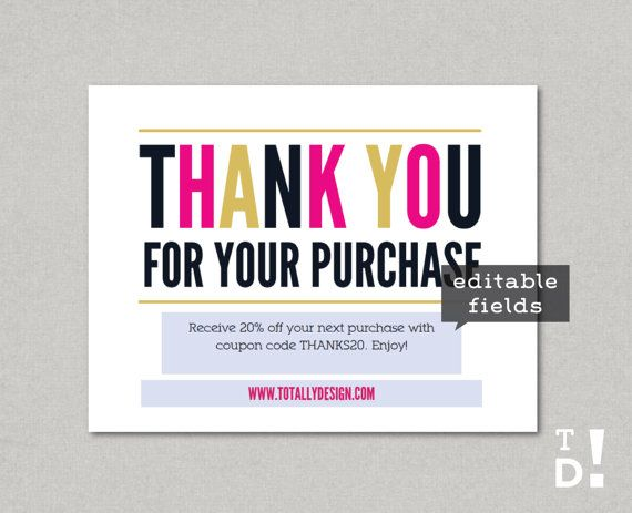 photo regarding Free Printable Thank You for Your Purchase referred to as Thank by yourself for your invest in Printable Immediate Down load