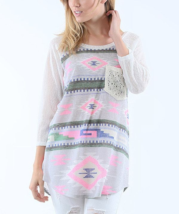 Look at this 42POPS Light Purple Geometric Three-Quarter Sleeve Top on #zulily today!