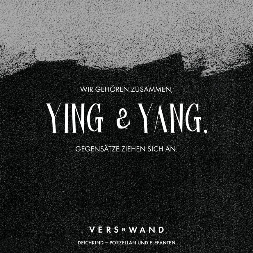 Wir gehören zusammen, Ying & Yang. Gegensätze ziehen sich an
