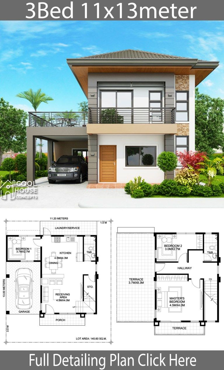 Home Design Plan 11x13m With 3 Bedrooms Home Design With Plan Duplex House Design 2 Storey House Design Model House Plan