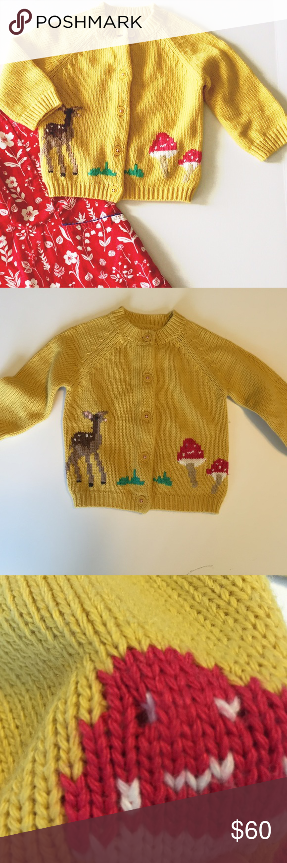 Baby Boden mustard sweater 6-12 months Sweet intarsia sweater from baby Boden. Matching dress listed separately. There is a pull on sleeve Mini Boden Jackets & Coats