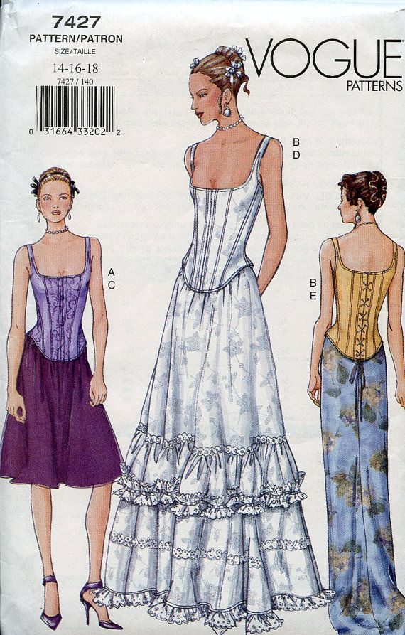 Vogue Pattern Corset Top and Skirt variations Sizes 14-16-18 Wedding ...