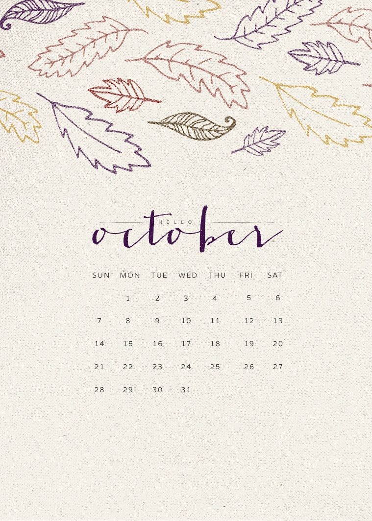 October 2018 iPhone Calendar Wallpaper wallpapers