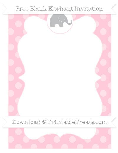 Free Pink Dotted Pattern Blank Elephant Invitation