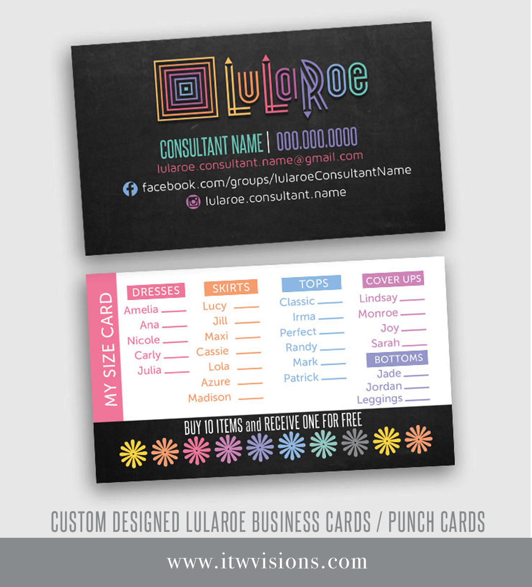Lularoe business card my size card punch card lula roe these adorable chalkboard background business card punch card my size card are perfect for magicingreecefo Images