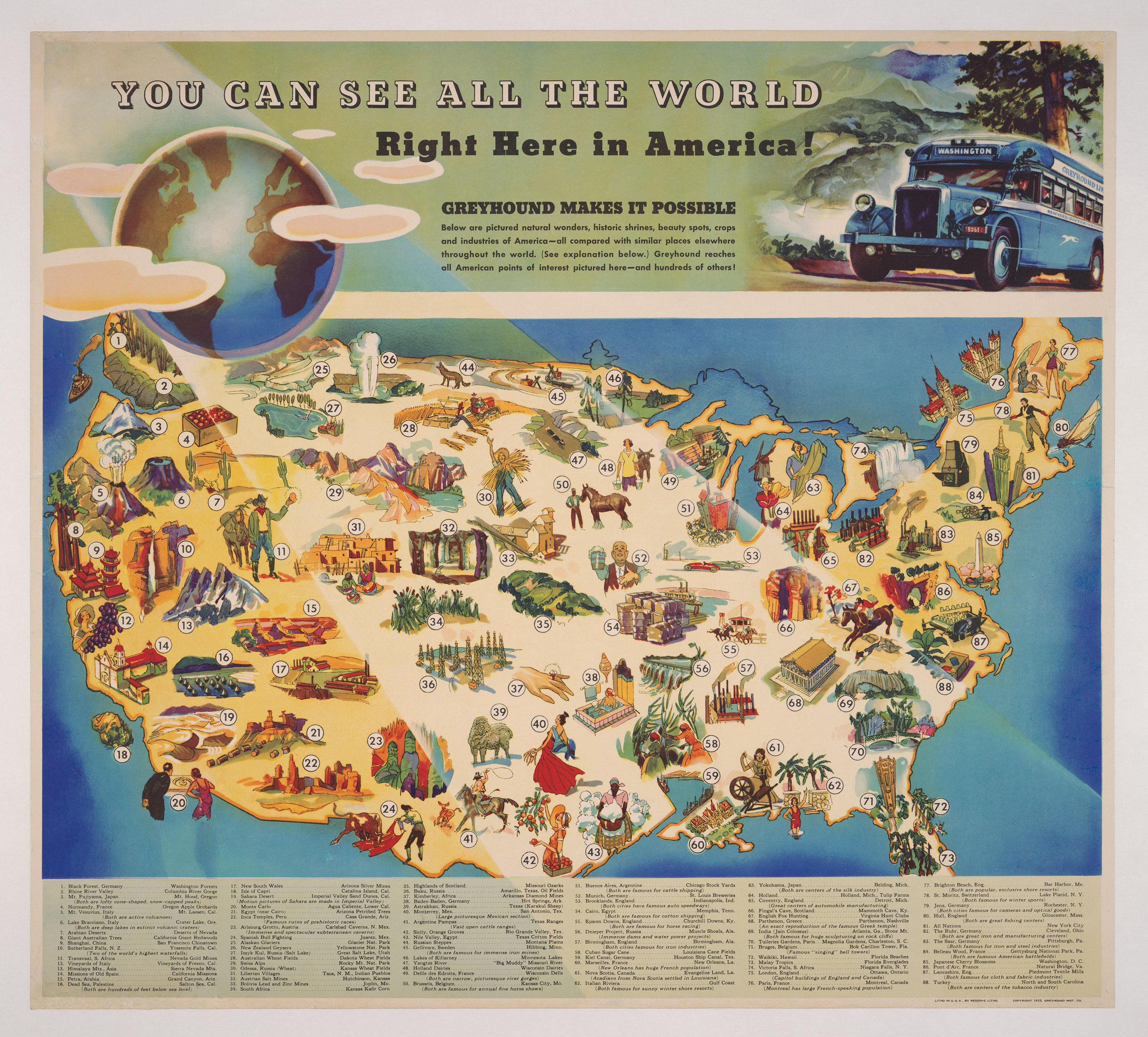 You Can See All The World Right Here In America A Map From 1935 Which Compares Some Of The Most Famous Places Around The World With Similar Locations In