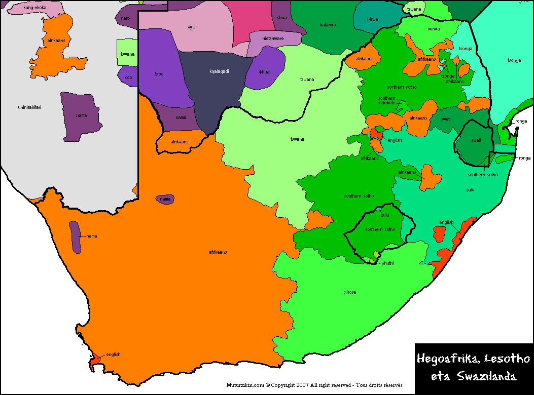 Languages in South Africa Lesotho and Swaziland MAPS Pinterest