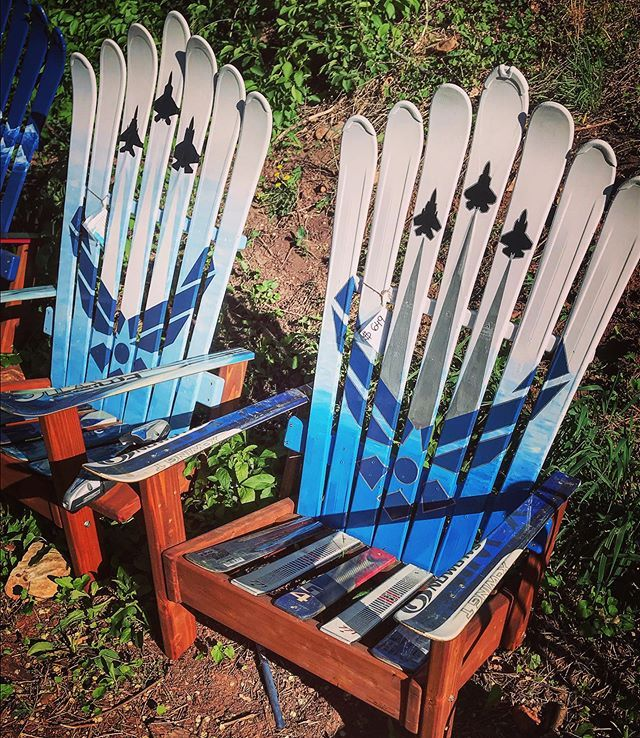 Air Force ski chairs. Works of Art handcrafted in the
