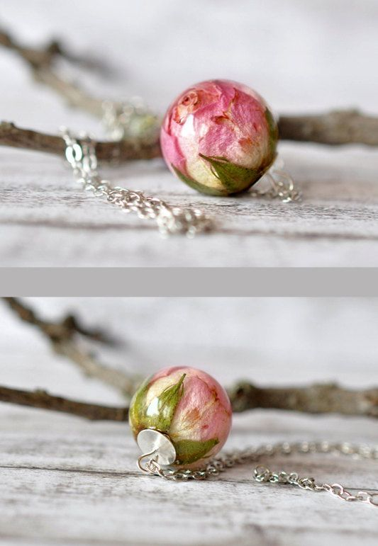 Photo of Real Light Pink Rosebud Resin Sphere Pendant Necklace – Valentines Day Jewelry – Real Rose Necklace