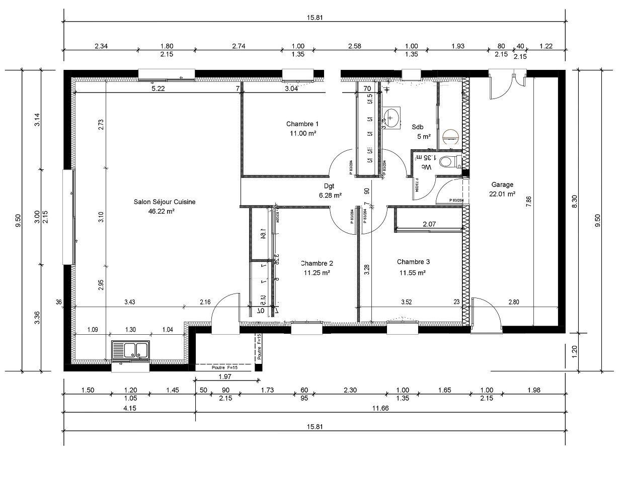 Plan De Maison Moderne 4 Chambres Gratuit Plan Maison 100m2 A Etage Plan Maison 100m2 Maison 100m2 Plan