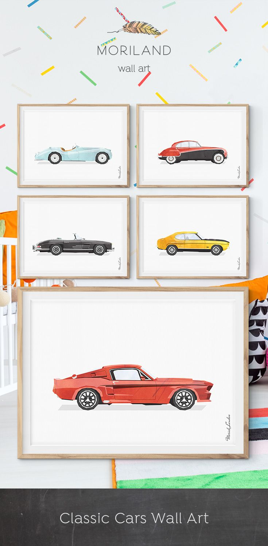 Classic Sports Car Print, Car Illustration, Vehicle Art, Toddler Printable, Transportation Wall Art, Boys Room Decor, Muscle Car Print