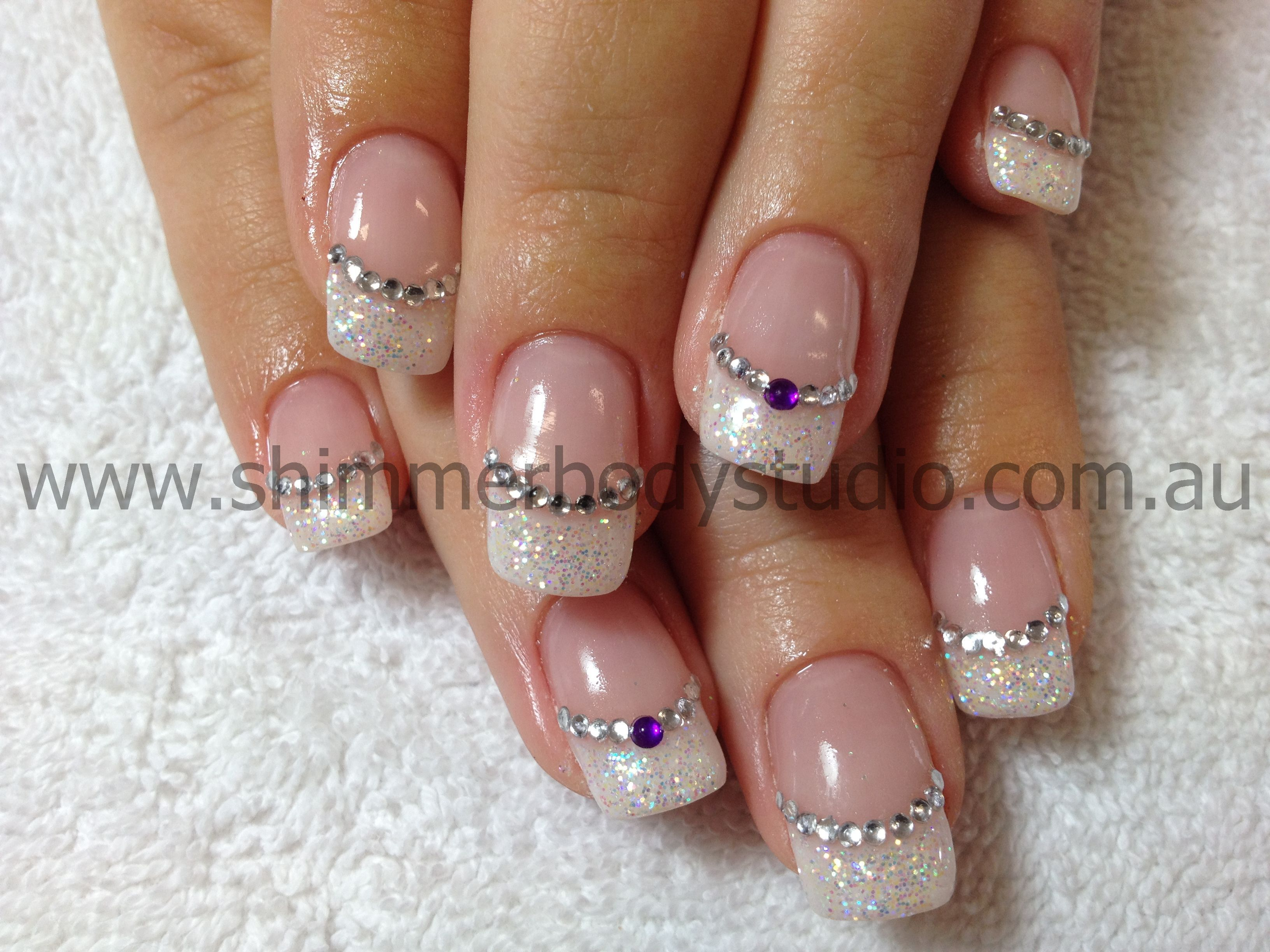 Gel Nails. French Nails. Glitter Nail Art.   Nailart   Pinterest ...
