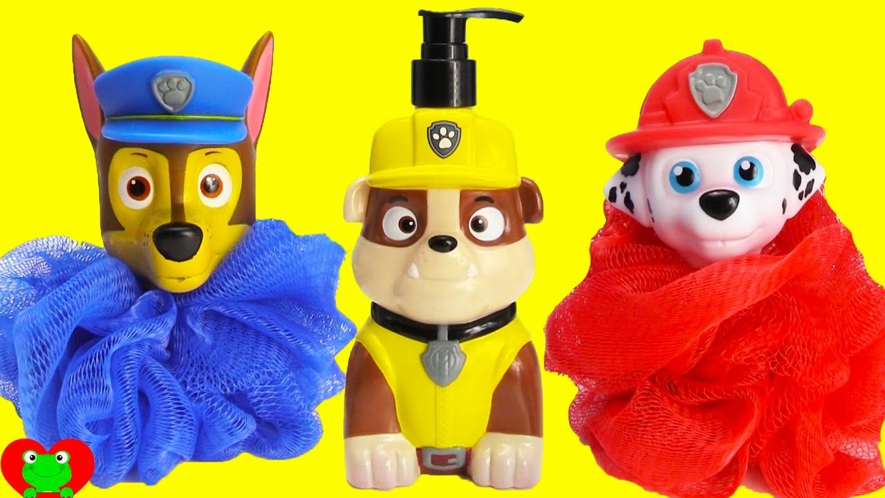 Paw Patrol Rubble Chase Marshall Bath Time Fun And Surprises With Toy  Genie. In This Video, Paw Patrol Merpups Get Slimed By Marshall And Chase!