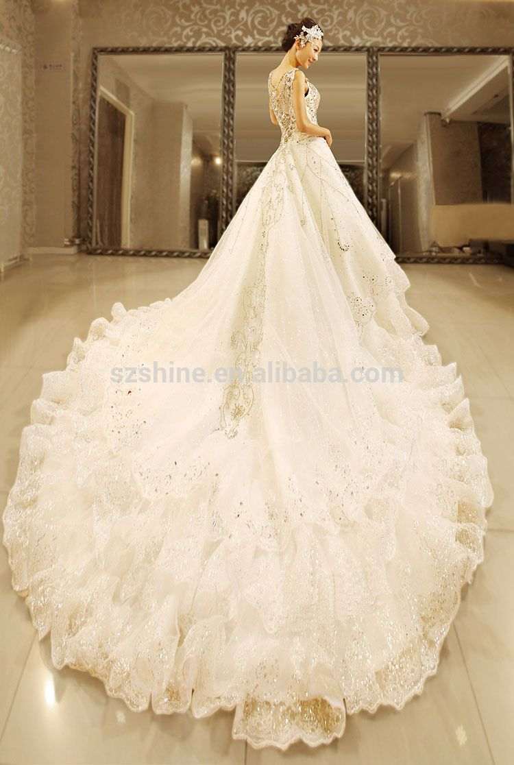 YWD11056 Real Sample Wedding Dresses 2015 Crystals Heavy Beading ...
