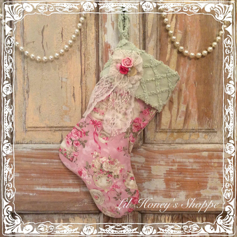 Shabby chic Christmas stocking, Victorian stocking, mantle decor, roses by lilhoneysshoppe on Etsy