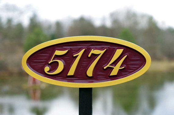 Custom Carved House Number Oval Street By Thecarvingcompany