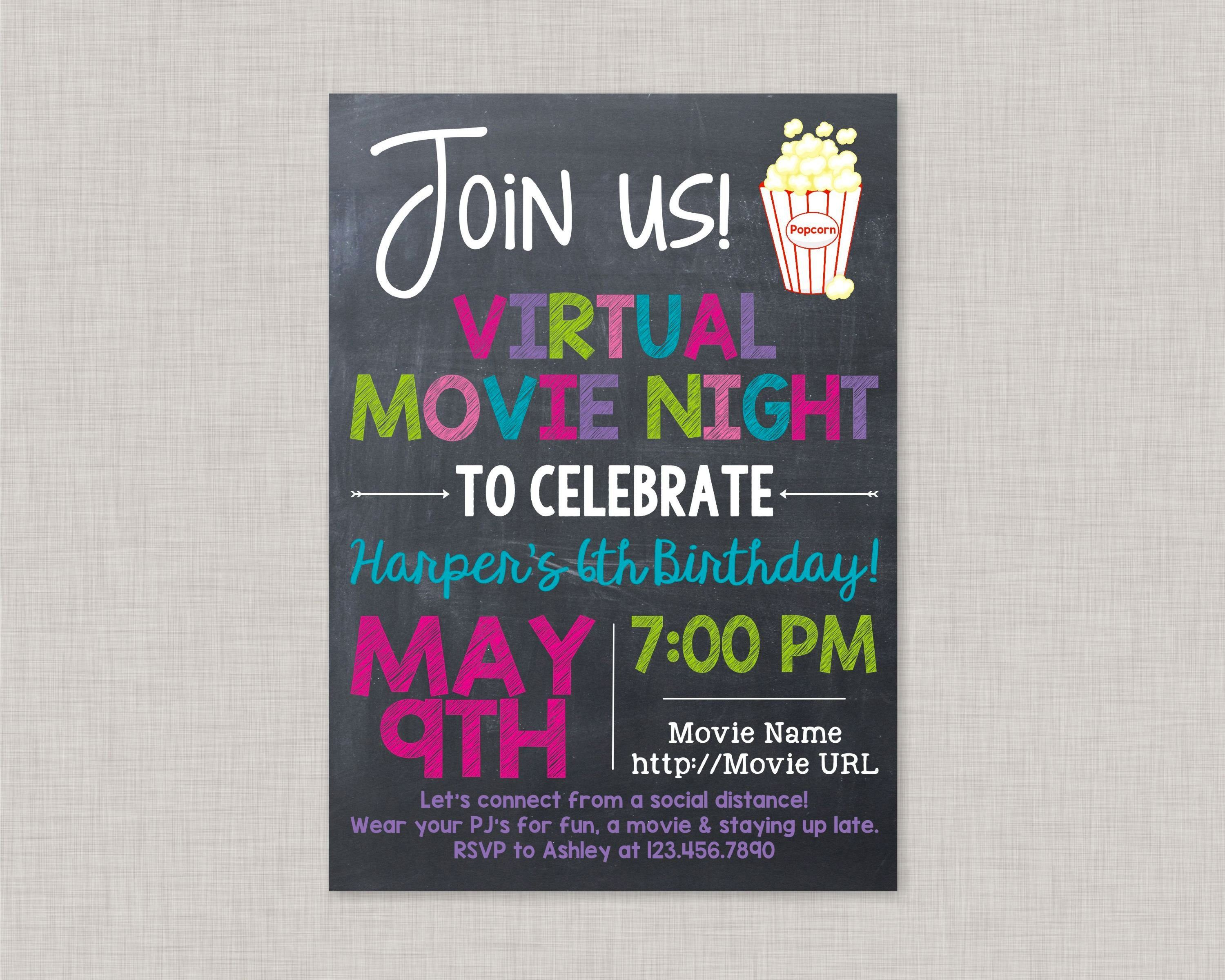 Virtual Movie Night Party Invitation