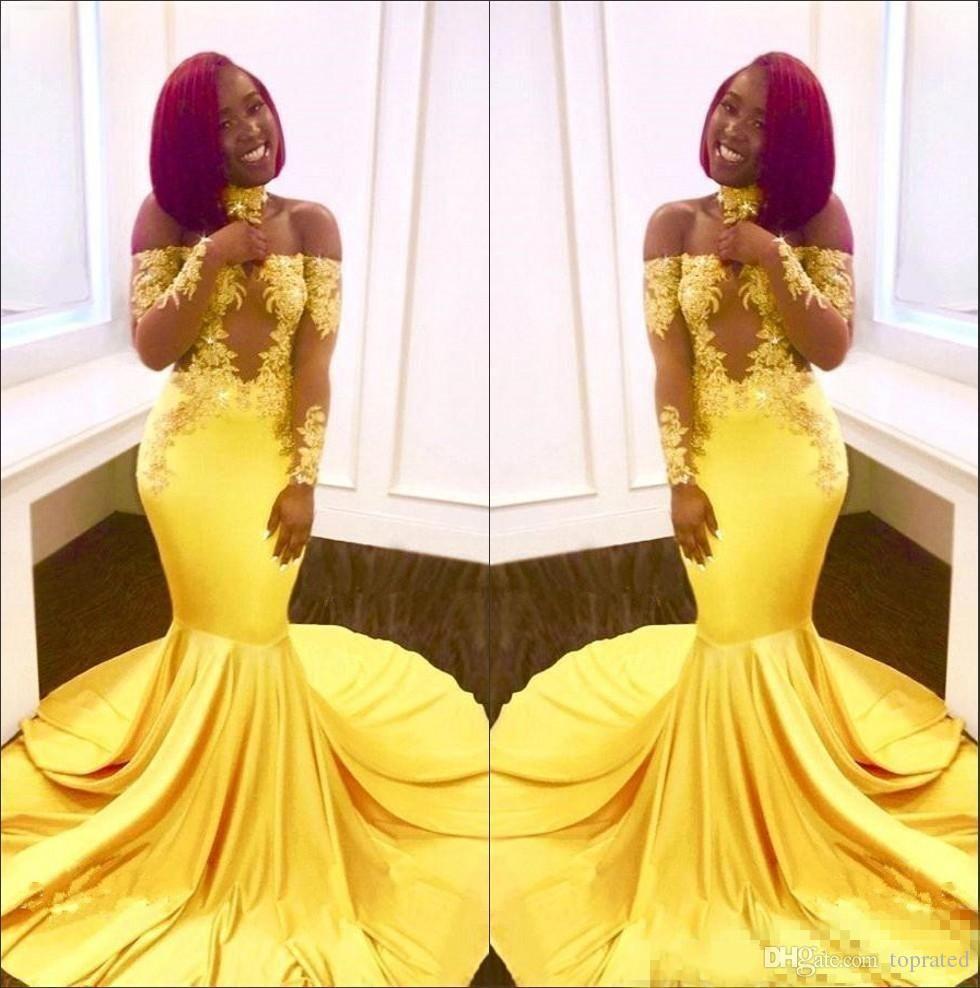 black girls yellow off the shoulder satin mermaid long cheap