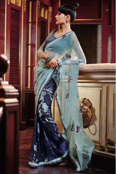 Blue Colour Casual Wear Printed Saree In Net and Georgette Fabric