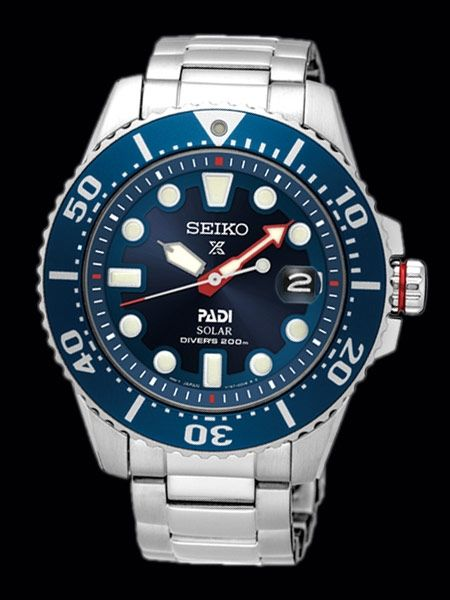 00b4910ba Seiko SNE435 PADI solar dive watch features a 10 month power reserve, and a  stainless steel bracelet with a double locking fold-over push-button clasp.