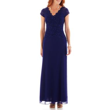 Blu Sage Short-Sleeve Lace Chiffon Gown   found at @JCPenney. Maybe MOB dress?