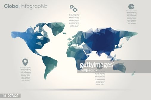 Geometric world map infographic vector art and infographic geometric world map infographic gumiabroncs Choice Image