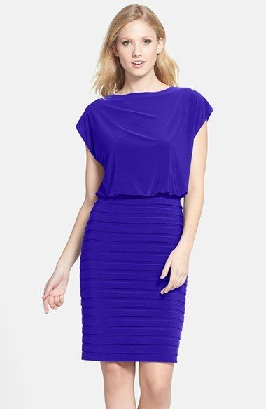 Adrianna Papell Pleated Jersey Blouson Dress