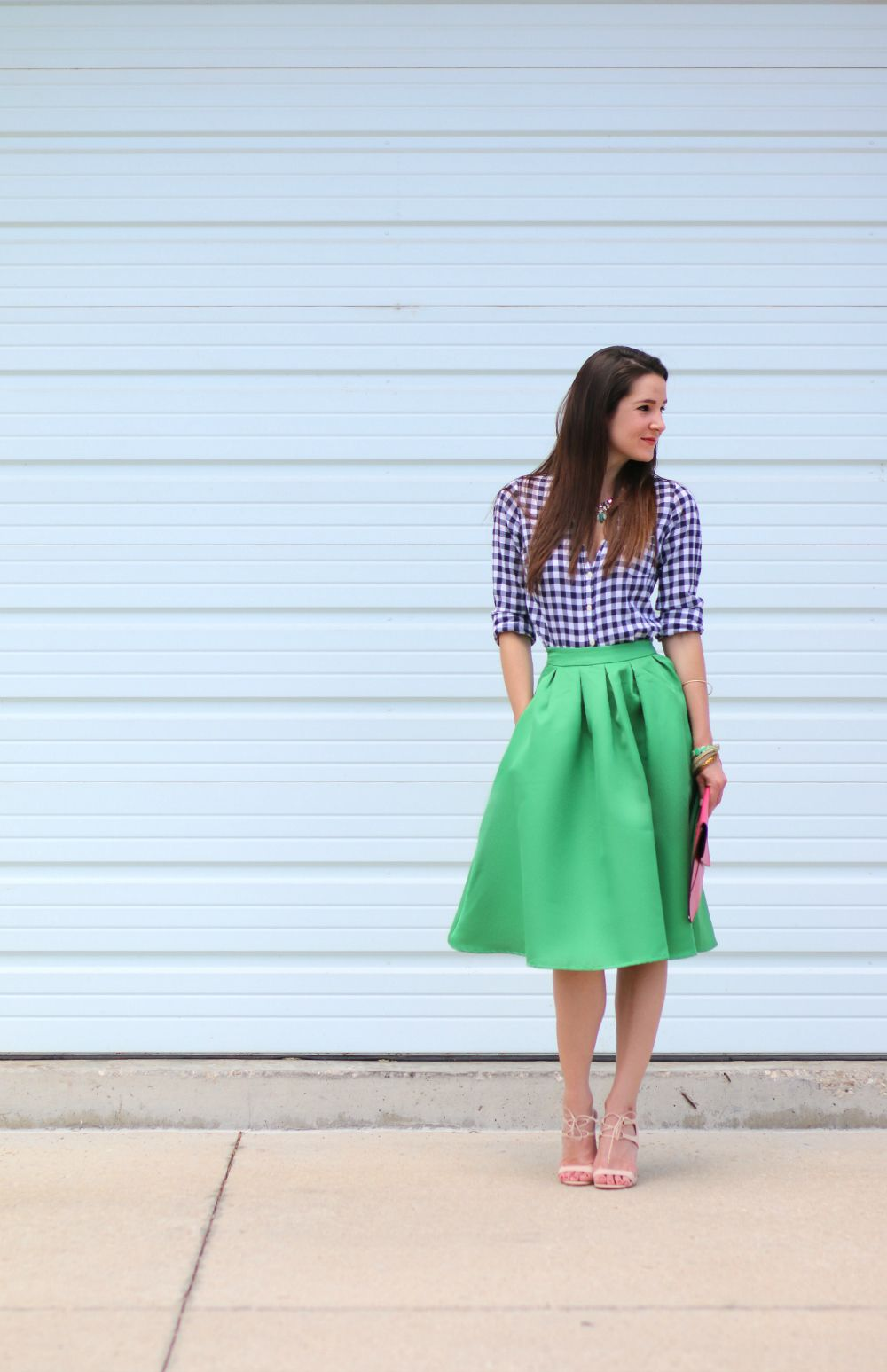 2cfbc6ff9fc8 Eating Recovery Day Ensemble: Kelly Green Midi Skirt +Emerald Jewels -  Diary of a Debutante