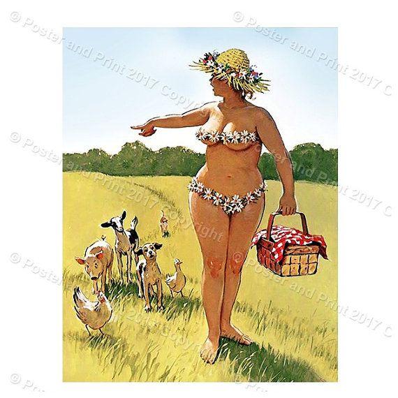 Hilda Picnic walking animals GO bikini poster pin up girl Duane ...