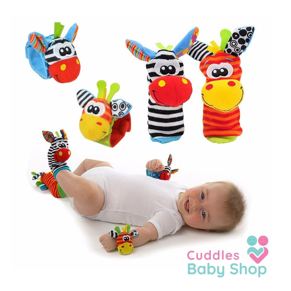 Baby Toy Wrist Rattle Strap With Cute Socks Cuddles Baby Shop Baby Rattle Baby Toddler Toys Baby Cartoon