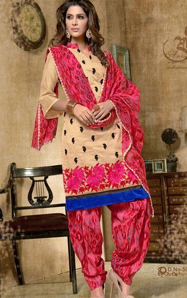 Picture of Fancy Cream Designer Patiala Suit