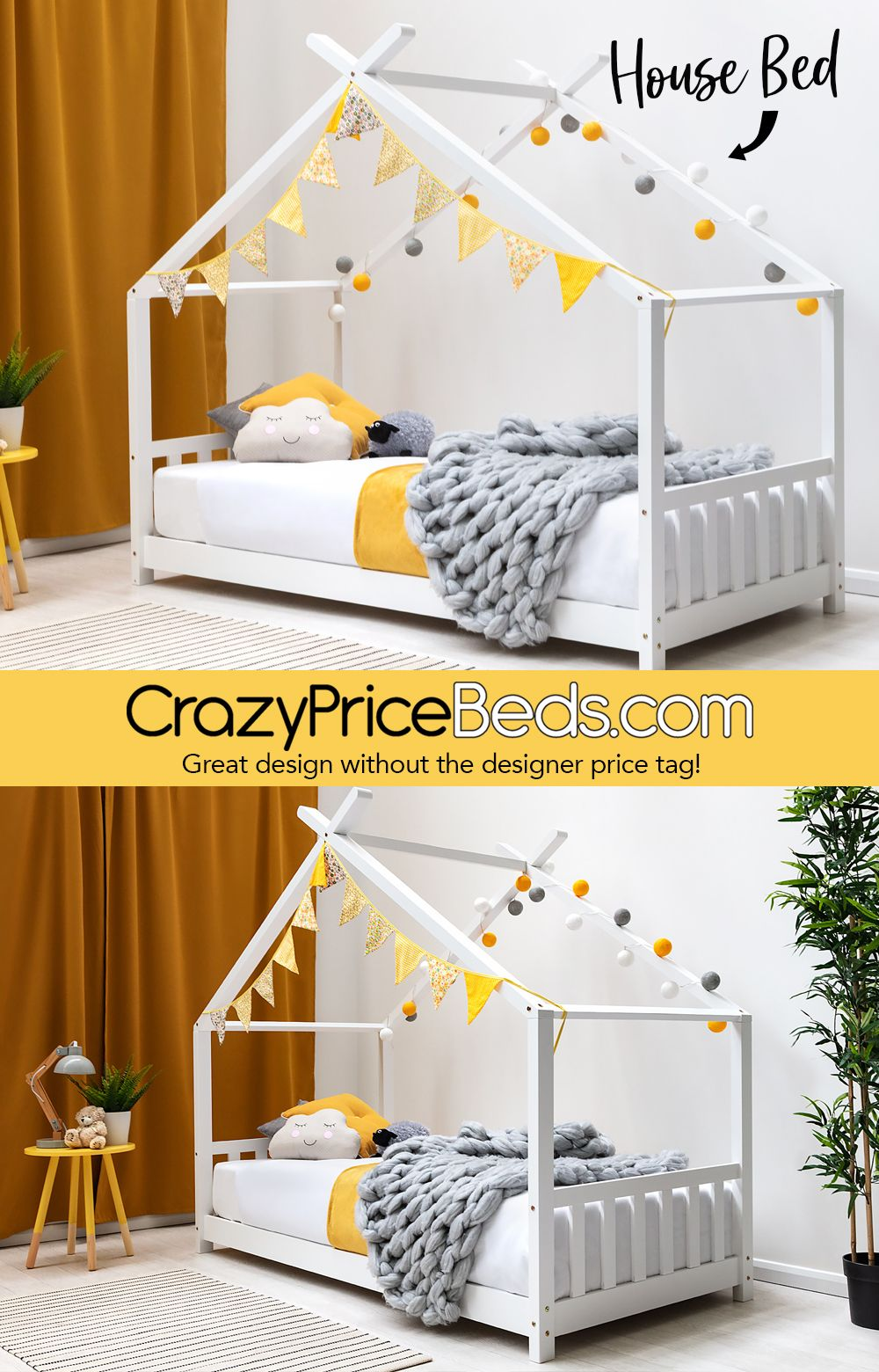 Kids Pine Wooden House Canopy Bed Frame Single Size | Kids bed