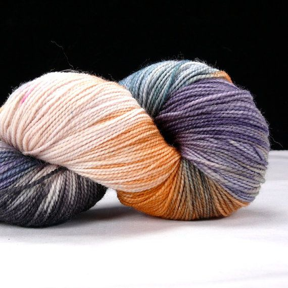 Hand Kettle Dyed Silver Sparkle Sock Yarn- Abalone