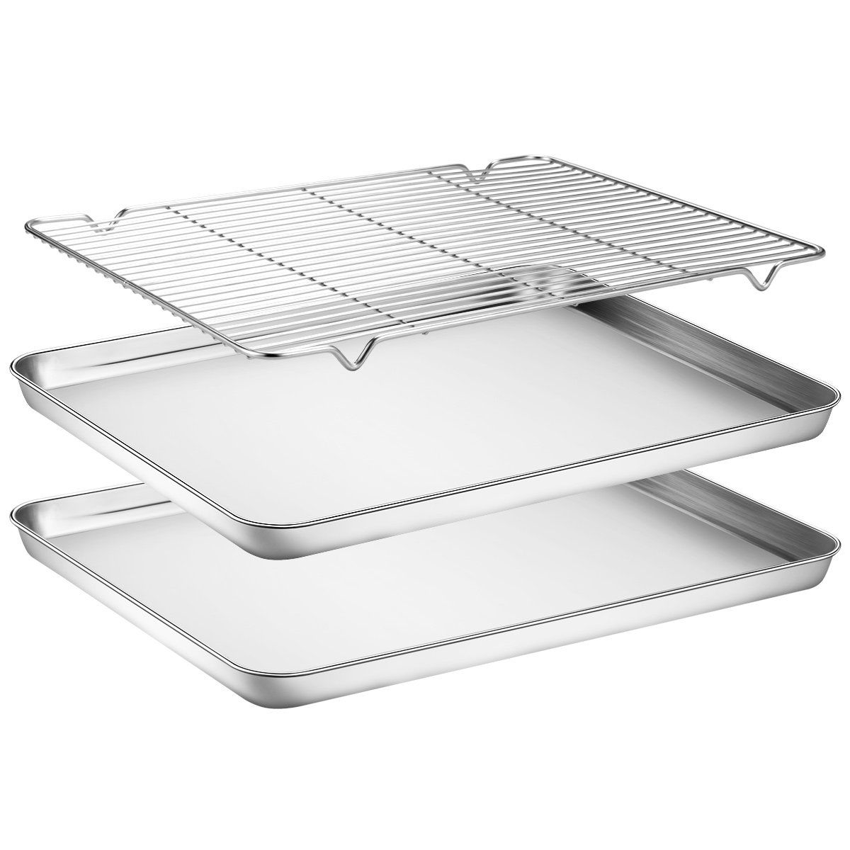 Amazon Com Baking Sheets 2 Pieces With A Rack Hkj Chef Cookie Sheets And Nonstick Cooling Rack Stainless Steel Bakin Baking Pans Baking Sheets Toaster Oven
