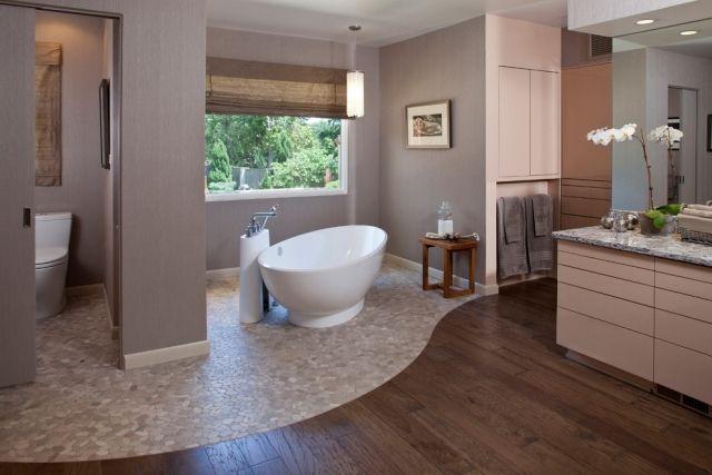 Badezimmer Gestaltung Ideen Fußboden Holz Stein Geschwungen Freistehende